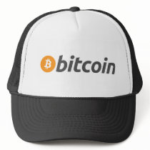 Bitcoin logo   text trucker hat
