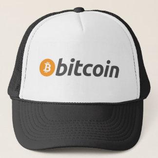 Bitcoin logo + text trucker hat