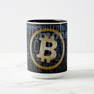 Bitcoin logo wordart graphics Two-Tone coffee mug