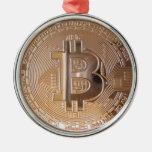 Bitcoin metallic made of copper. M1 Adorno Navideño Redondo De Metal