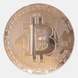 Bitcoin metallic made of copper. M1 Pegatinas Redondas