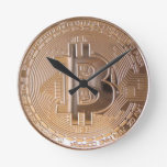 Bitcoin metallic made of copper. M1 Reloj Redondo Mediano