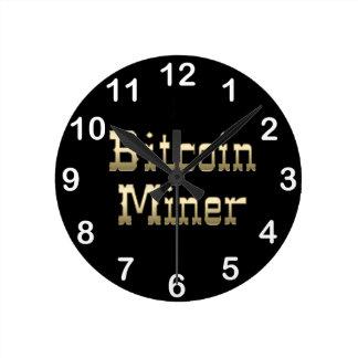 Bitcoin Miner (On Black) Round Wallclocks
