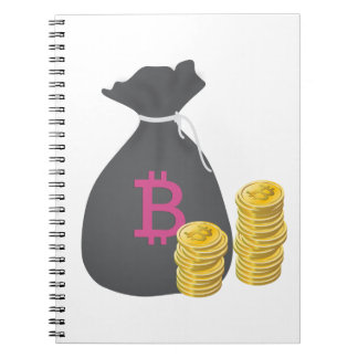 Bitcoin Money Bag with Two Stacks of Gold Coins Spiral Note Book
