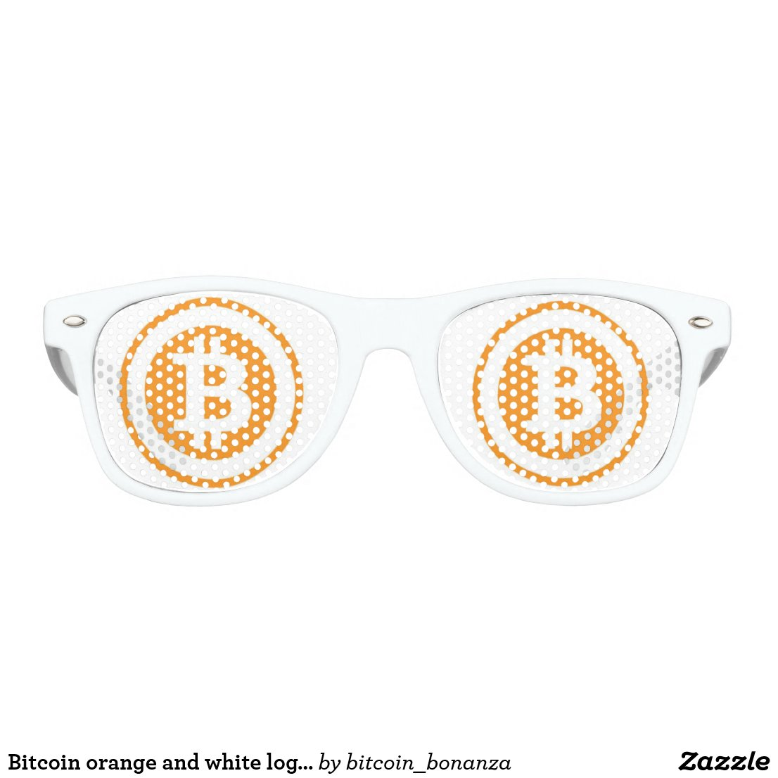 Bitcoin orange and white logo with circle retro sunglasses