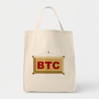 bitcoin sign wood tote bag