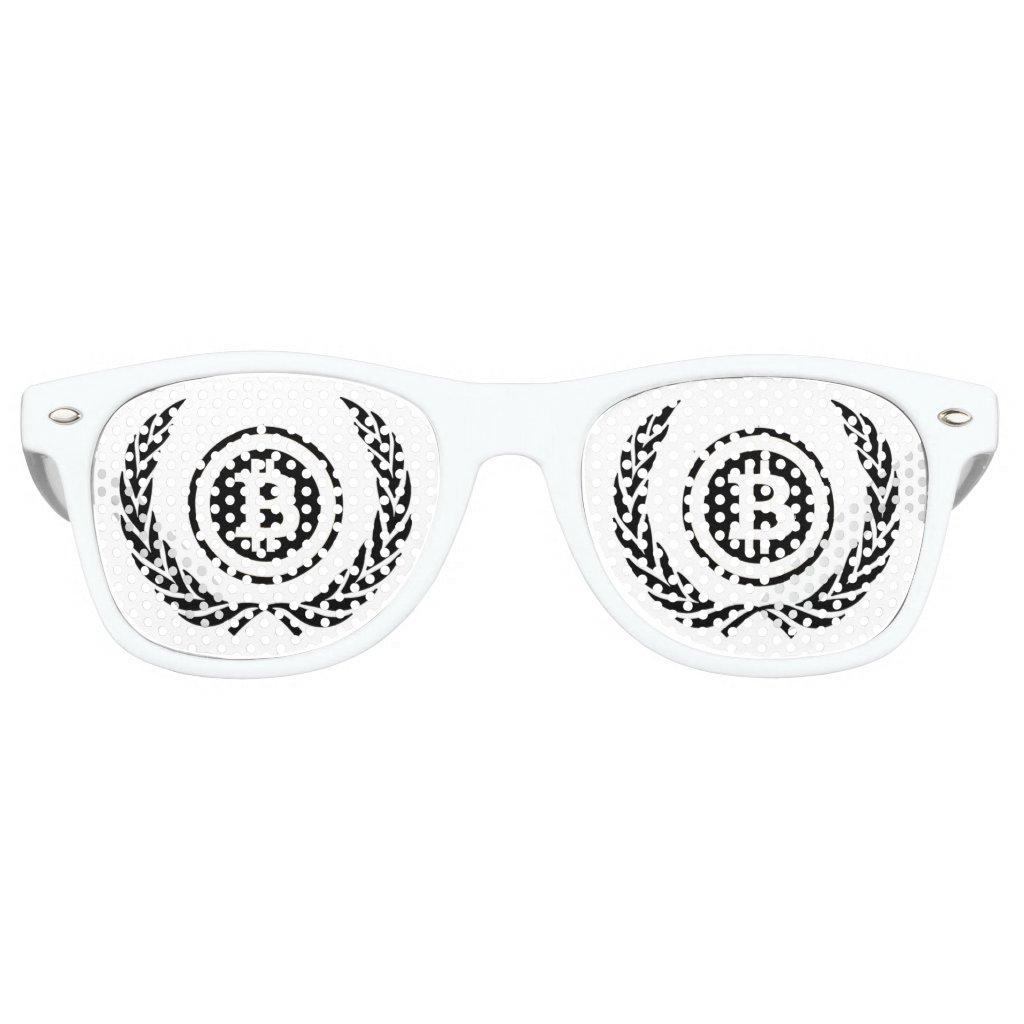 Bitcoin sunglasses with laurel leaves