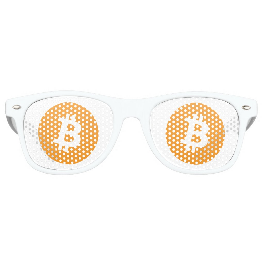 Bitcoin sunglasses with orange and white bitcoin l