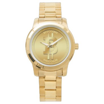 Professional Business Bitcoin Unisex Oversized Gold Bracelet Watch