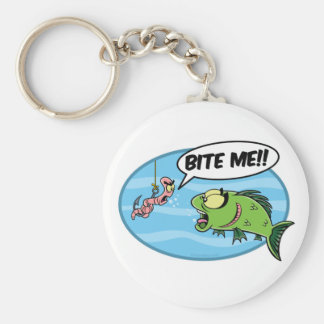 Bite Me!! Basic Round Button Keychain