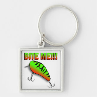 Bite Me Bass Lure Silver-Colored Square Keychain