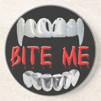 Bite Me Blood And Teeth Coaster