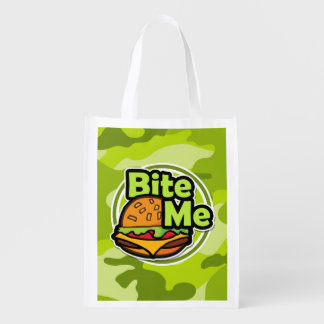 Bite Me; bright green camo, camouflage Grocery Bag