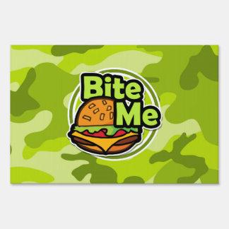 Bite Me; bright green camo, camouflage Lawn Sign