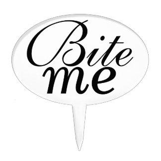 """Bite Me"" cake pick (black and white)"