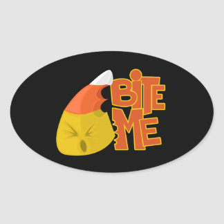 Bite Me - Candy Corn Oval Sticker