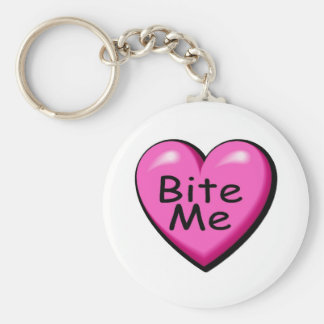 Bite Me Candy Heart Basic Round Button Keychain