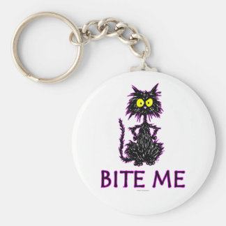 Bite Me! Cat Gift Designs Keychain