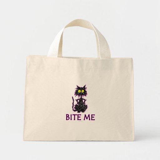 Bite Me! Cat Gift Designs Tote Bag