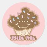bite me chocolate cupcake round sticker