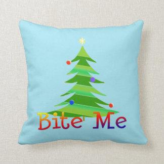 Bite Me Christma Tree Throw Pillow