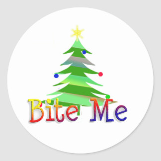 Bite Me Christmas Tree Classic Round Sticker