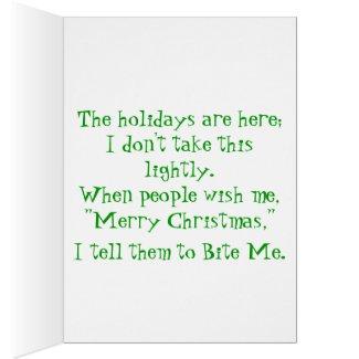 Bite Me Christmas Tree Greeting Card