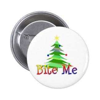 Bite Me Christmas Tree Pinback Button