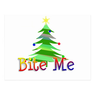 Bite Me Christmas Tree Postcard