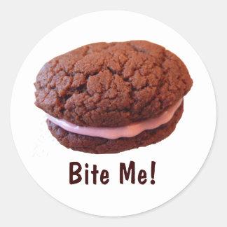 """Bite Me!"" Cookie Classic Round Sticker"