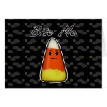 Bite Me, Cute Angry Candy Corn Cartoon Design Greeting Card