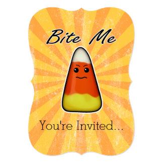 Bite me cute funny Kawai Halloween candy corn 5x7 Paper Invitation Card