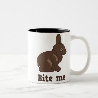 Bite Me Easter Bunny Two-Tone Coffee Mug