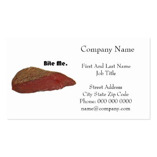 Bite Me Funny Steak Beef Pun Joke Double-Sided Standard Business Cards (Pack Of 100)