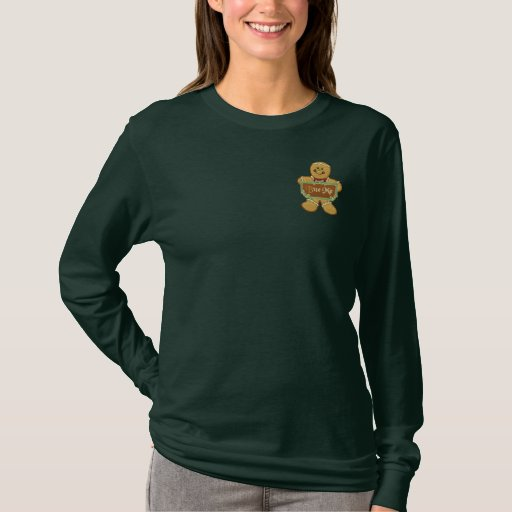 Bite Me Gingerbread Embroidered Long Sleeve T-Shirt