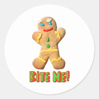 Bite Me Gingerbread Man Classic Round Sticker
