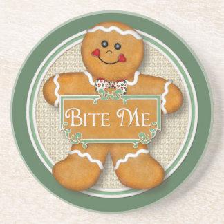 Bite Me Gingerbread Man Drink Coaster