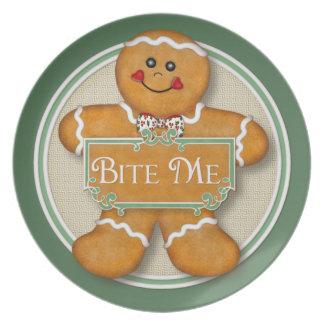 Bite Me Gingerbread Man Melamine Plate