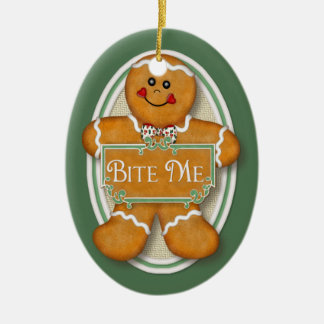 Bite Me Gingerbread Man -  Oval 2 Double-Sided Oval Ceramic Christmas Ornament
