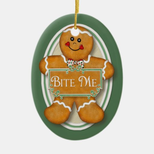 Bite Me Gingerbread Man -  Oval 2 Christmas Tree Ornaments