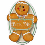 Bite Me Gingerbread Man -  Oval Ornament Photo Sculptures