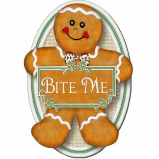 Bite Me Gingerbread Man - Oval Ornament Photo Sculptures