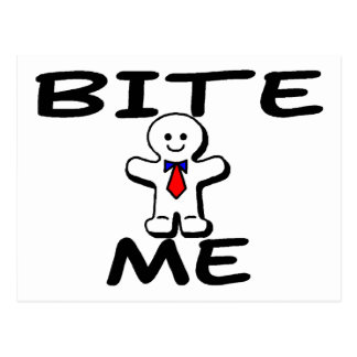 Bite Me Gingerbread Man Postcard