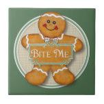 Bite Me Gingerbread Man Small Square Tile