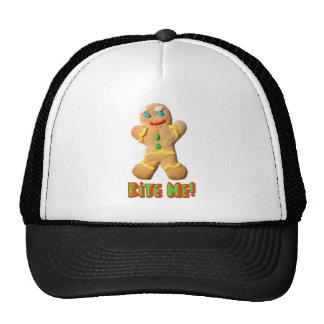 Bite Me Gingerbread Man Trucker Hat
