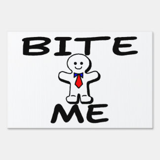 Bite Me Gingerbread Man Yard Signs
