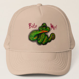 Bite Me! guys hat, snake bite, boyfriend gift Trucker Hat