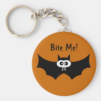 Bite Me Halloween Bat Basic Round Button Keychain