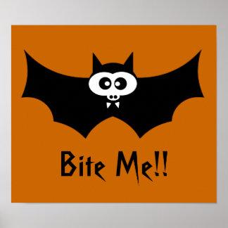 Bite Me Halloween Bat Poster