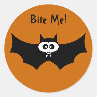 Bite Me Halloween Bat Classic Round Sticker